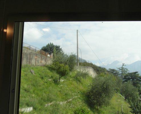 Mini ascensore. Vista superiore della finestra panoramica di cabina. Vista dalla cabina.